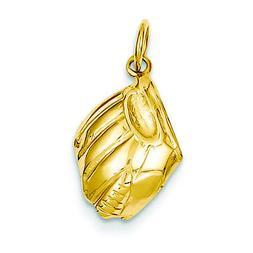14K Yellow Gold Baseball Glove Charm Pendant MSRP $310