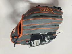 """Wilson A450 11"""" RHT Baseball Glove Grey/Orange"""