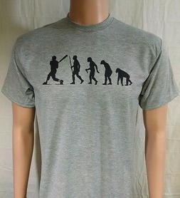BASEBALL EVOLUTION T-SHIRT...S-XL 2X...grey black ink bat gl