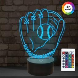 Baseball Glove 3D Night Light Touch 16 Color Children Gift L