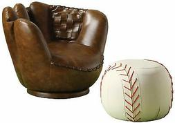 Benzara Baseball Glove Chair & Ottoman