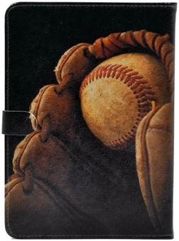 Baseball in Glove Vintage Leather Flip Stand Case For iPad M