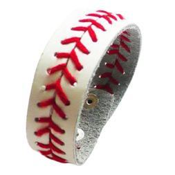 Baseball Leather Bracelet Jewelry Team School Sports Fan Bat