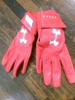 Under Armour Boys' Heater Baseball Batting Gloves RED SIZE Y