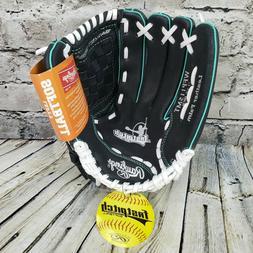 "Rawlings Fastpitch Softball Baseball Glove 11.5"" Black LHT L"