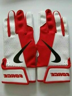 Nike Force Edge Batting Gloves Men's Large University Red/Wh