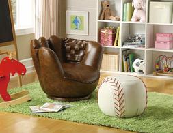 Kids Baseball Swivel Chair Ottoman Glove Ball Faux Leather R