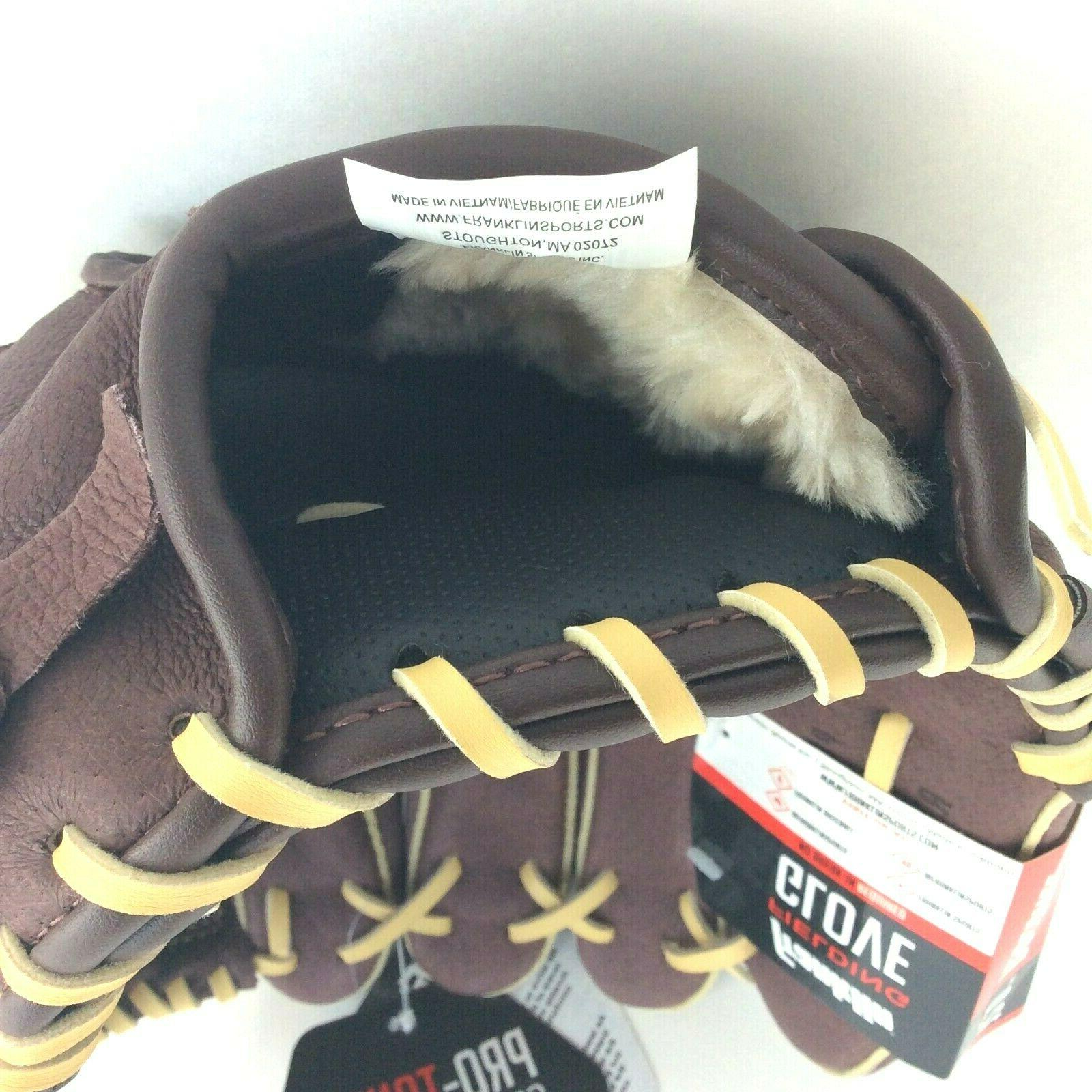 """FRANKLIN 12"""" Pro Series Leather Baseball Hand Brown New"""
