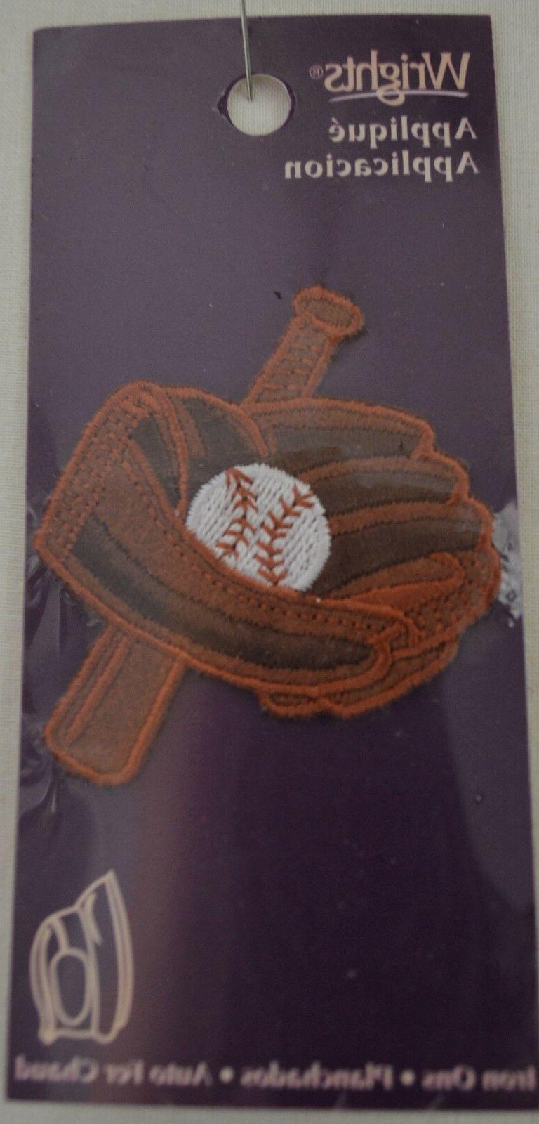 applique iron on baseball glove bat