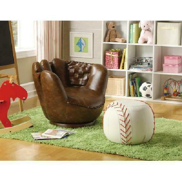 baseball glove kids faux leather chair