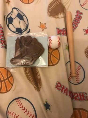 teddy bear baseball glove and bat