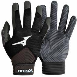 Mens Mizuno MVP Baseball Softball Batting Gloves Black Grey