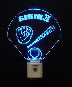 Personalized Baseball Diamond LED Night Light, Bat, Glove, K