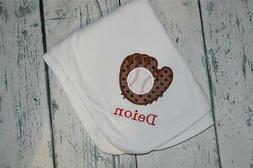 PERSONALIZED Baseball Glove  Baby Receiving Blanket -  monog