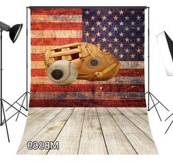 Rustic Baseball Glove US Flag Wood Board Vinyl Backdrop Stud