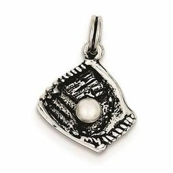 Sterling Silver Baseball Glove with Simulated Pearl Charm Pe