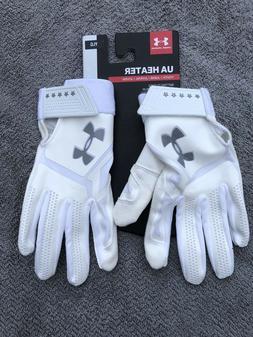Under Armour Youth Boys White Heater Baseball Batting Gloves